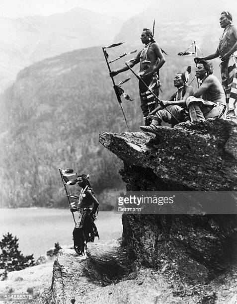 Glacier National Park MTNative American warriors at Glacier National Park on the shore of St Mary Lake Montana Undated photograph from the Gendreau...
