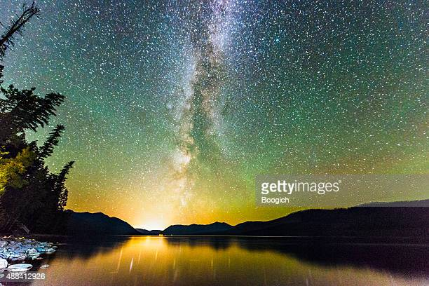 Glacier National Park Night Stars Reflection in Scenic Lake Montana