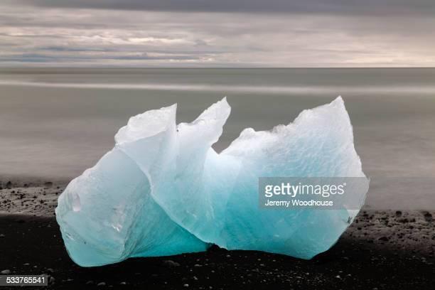 Glacier on Lava Beach, Jokulsarlon Glacier Lagoon, Iceland