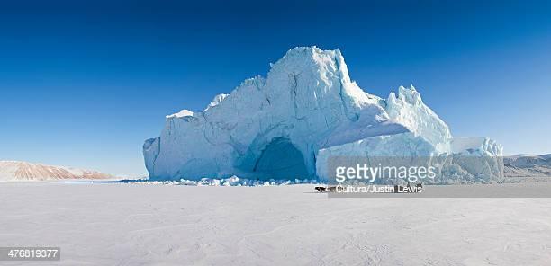 Glacier overlooking snowy landscape