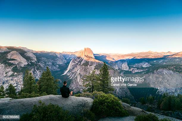 glacier point at sunrise, yosemite valley, california, usa - yosemite nationalpark stock pictures, royalty-free photos & images