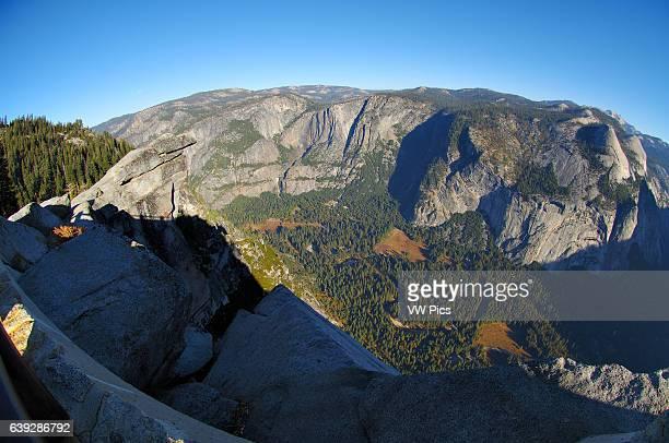 Glacier Point Northwest Fisheye View at Sunrise Overhanging Rock Yosemite Valley Yosemite Falls Watercourse Yosemite Point Indian Canyon Royal Arches...