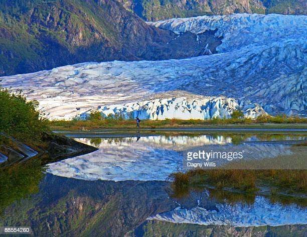 Glacier Reflecting in Lake.