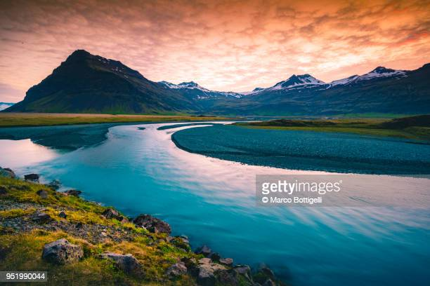 glacier river in east iceland - saturated colour stock pictures, royalty-free photos & images