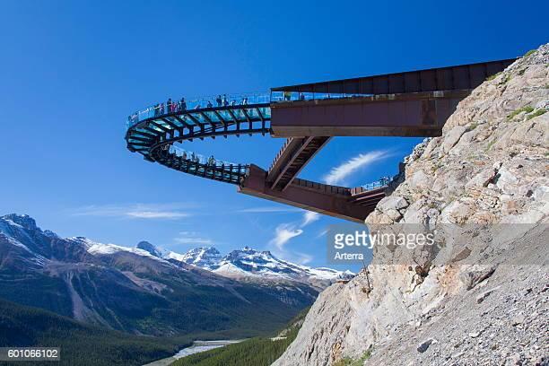 Glacier Skywalk glassfloored observation platform looking over the Sunwapta Valley Jasper National Park Alberta Canadian Rockies Canada