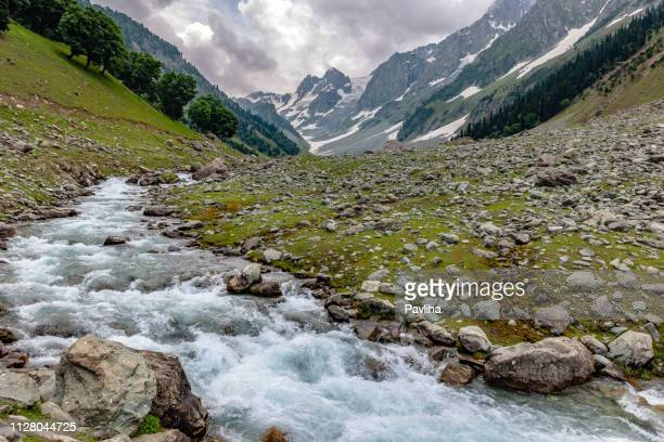 glacier stream in thaiwas,,zozila pass,jammu and kashmir, ladakh region, tibet,india, - kashmir stock photos and pictures