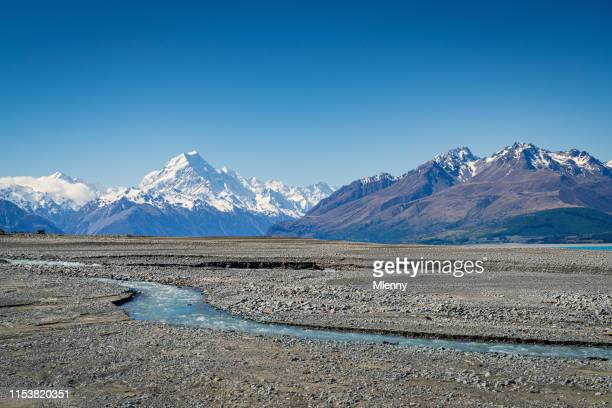 glacier stream lake pukaki mount cook, new zealand - canterbury region new zealand stock pictures, royalty-free photos & images