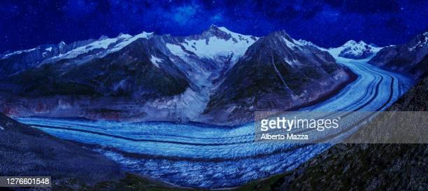 glacier switzerland panorama by night - unesco stock-fotos und bilder