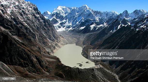 Glacier Tsho Rolpa Lake is seen on November 4, 2007 in Beding, Rolwaling, Nepal. The lake level has been getting higher every year and the risk of...