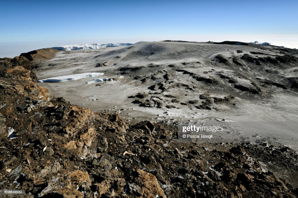 Glaciers and Reusch crater from Uhuru Peak, Kilimanjaro National Park : Stock Photo