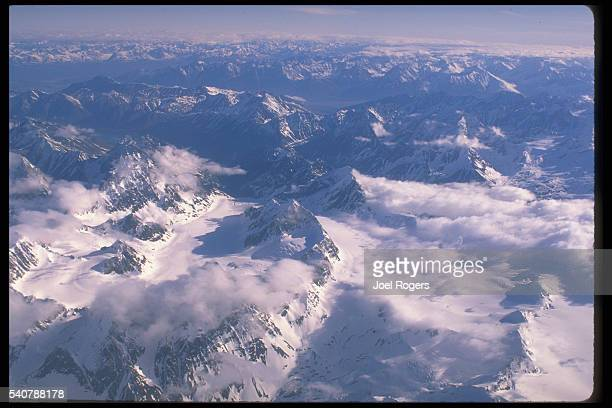 Glaciers cover the mountains of the Chugach range South of Anchorage Alaska USA