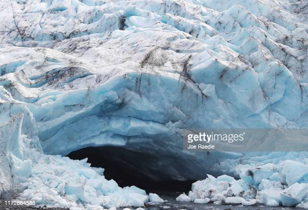Glaciers terminus in the Kenai Mountains is seen on September 06, 2019 near Primrose, Alaska. Scientists from the U.S. Geological Survey have been...