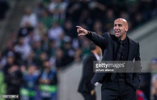 Gladbach's coach André Schubert reacting during the Champions League Group C soccer match between Borussia Moenchengladbach and FCBarcelona at the...