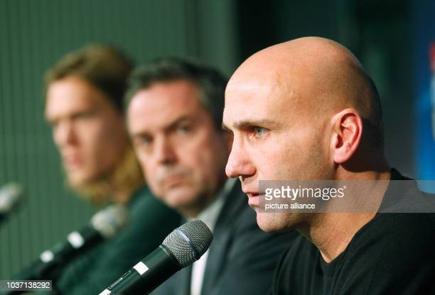 Gladbach's player Jannik Vestergaard , manager Markus Aretz and coach Andre Schubert answering questions of journalists during a press conference in...