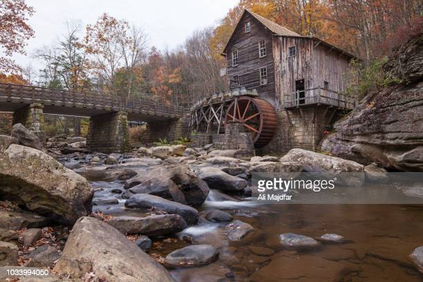 glade creek grist mill in the babcock state park - fayetteville stock pictures, royalty-free photos & images