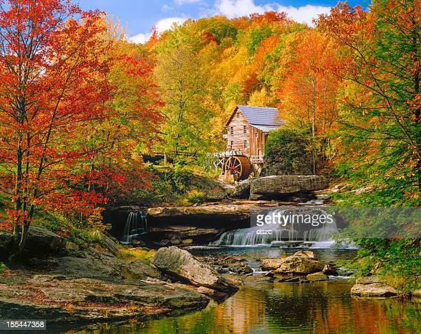 glade creek grist mill nostalgia blazing autumn colors west virginia - protohistory_of_west_virginia stock pictures, royalty-free photos & images
