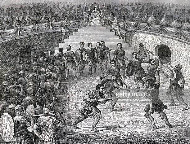 Gladiators Fighting In The Ring In Ancient Rome From A 19Th Century Engraving