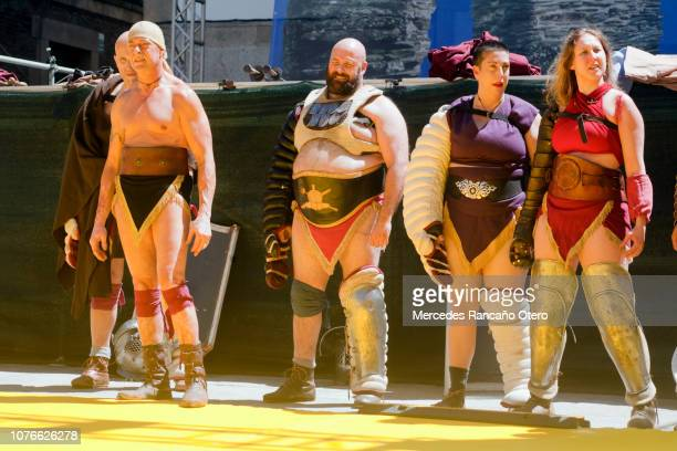 gladiators in a traditional festival, 'arde lucus' lugo city, galicia, spain. - female wrestling stock photos and pictures