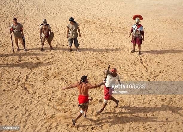 gladiators en la arena-jerash, jordania - gladiator fotografías e imágenes de stock