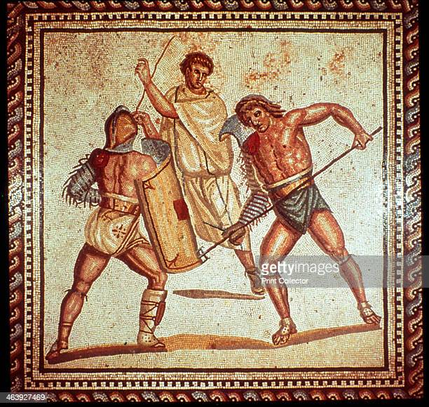 Gladiators in the arena Roman mosaic Saarbrucken Germany