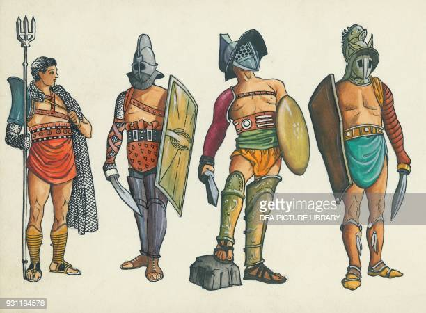 Retiarius Thraex Samnite Secutor drawing Roman civilization 2nd1st century BC
