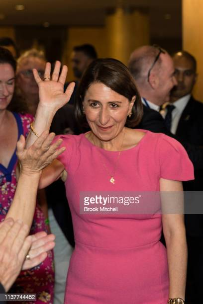 Gladys Berejiklian arrives to celebrate her win in the NSW State Election at the Sofitel Wentworth on March 23 2019 in Sydney Australia The 2019 New...