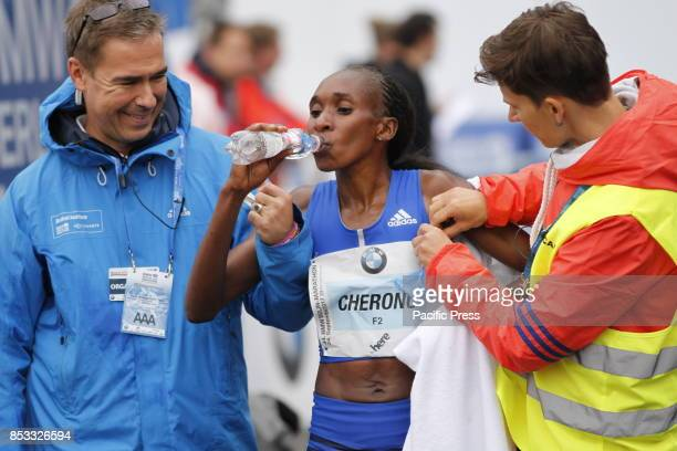 Gladys Cherono from Kenya won the women's Berlin Marathon Gladys Cherono ran 22023 hours Eliud Kipchoge ran the 42195 kilometers in 20334 hours