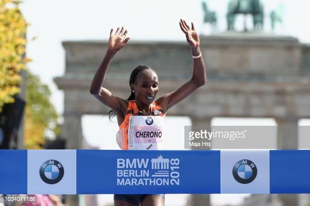 Gladys Cherono of Kenia crosses the finishing line to win the Berlin Women's Marathon 2018 on September 16 2018 in Berlin Germany