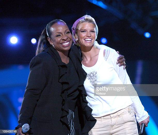 Gladys Knight and Jessica Simpson during 2004 VH1 Divas Benefitting The Save The Music Foundation Rehearsals Day 2 at MGM Grand in Las Vegas Nevada...
