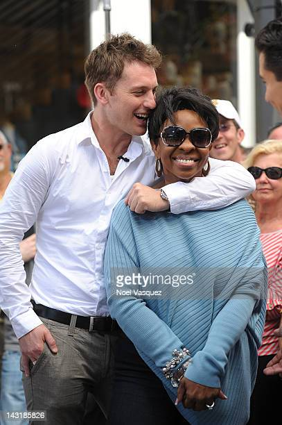 Gladys Knight and Tristan MacManus visit Extra at The Grove on April 20 2012 in Los Angeles California