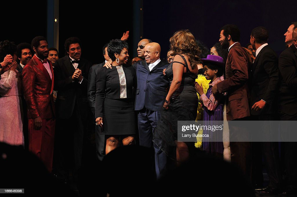 Gladys Knight, Berry Gordy and Mary Wilson pose onstage with the cast of 'Motown: The Musical' Opening Night at Lunt-Fontanne Theatre on April 14, 2013 in New York City.