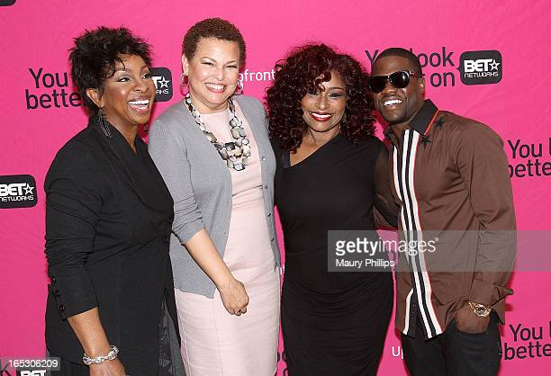 Gladys Knight chairman/CEO of BET Networks Debra Lee Chaka Khan and Kevin Hart attend BET Networks 2013 Los Angeles Upfront at Montage Beverly Hills...