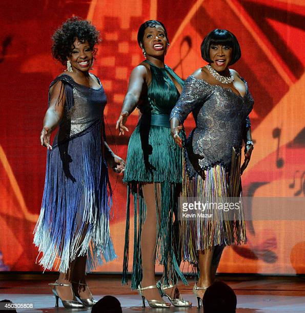 Gladys Knight Fantasia and Patti LaBelle from 'After Midnight' perform onstage during the 68th Annual Tony Awards at Radio City Music Hall on June 8...