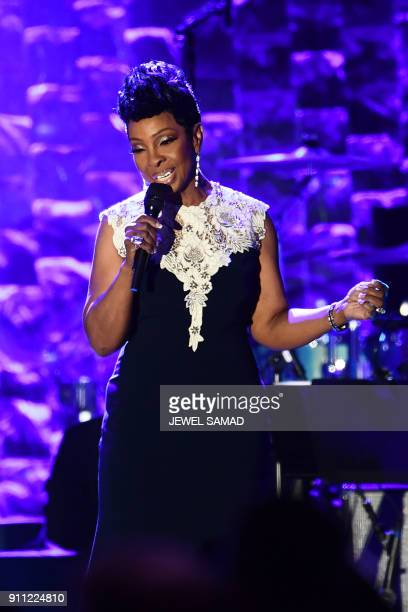 Gladys Knight known as the Empress of Soul performs during the traditionnal Clive Davis party on the eve of the 60th Annual Grammy Awards on January...