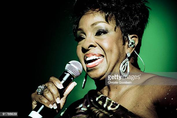 Gladys Knight performs on stage during her Farewell Tour at Wembley Arena on October 8 2009 in London England
