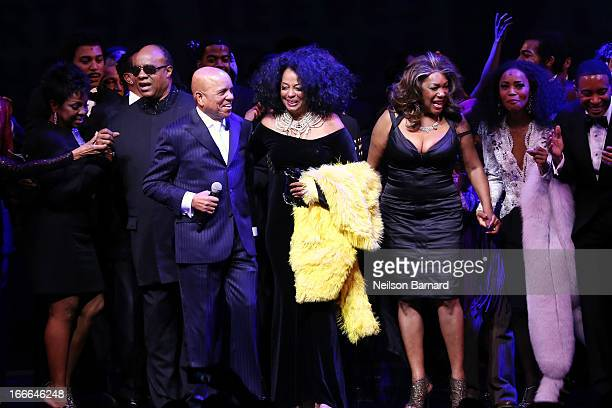 Gladys Knight Stevie Wonder Smokie Robinson Berry Gordy Jr Diana Ross and Mary Wilson attend the Broadway opening night curtain call on stage for...