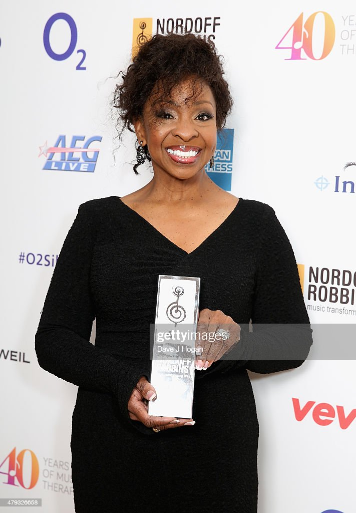 gladys knight with her international award during the nordoff robbins o2 silver clef awards at the - Silver Hotel 2015