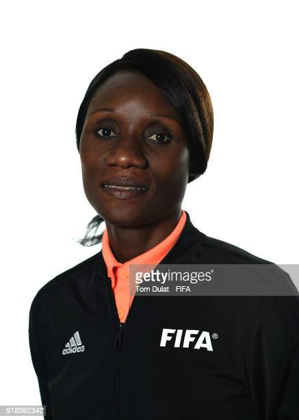 Gladys Lengwe of Zambia poses for photographs during the FIFA Women's Referee Seminar on February 14 2018 in Doha Qatar