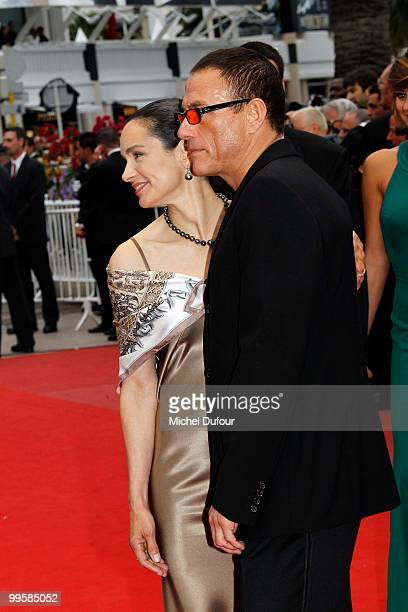 Gladys Portugues and Jean Claude Van Damme attend the 'You Will Meet A Tall Dark Stranger' premiere at the Palais des Festivals during the 63rd...