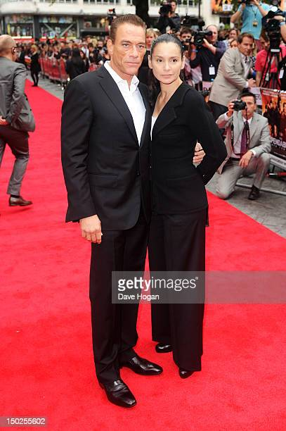 Gladys Portugues and Jean-Claude Van Damme attend the UK premiere for The Expendables 2 at Simpsons On The Empire Leicester Square on August 13, 2012...