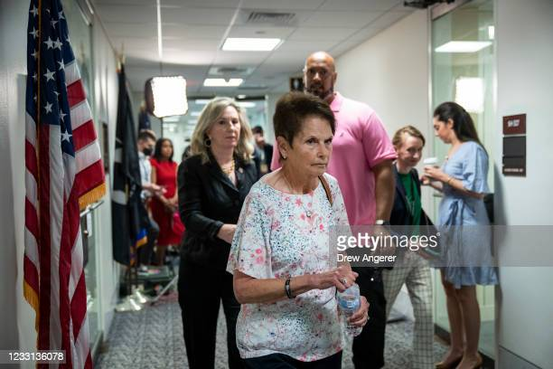 Gladys Sicknick, the mother of late Capitol Police Officer Brian Sicknick, leaves after a meeting with Sen. Ron Johnson to urge for a January 6...