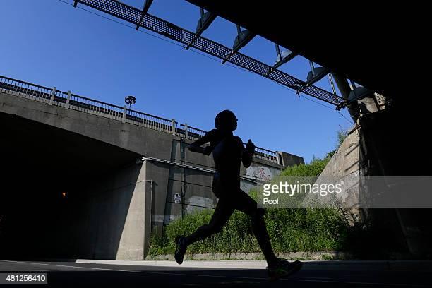 Gladys Tejeda of Peru runs during the women's marathon at the Pan Am Games on July 18 2015 in Toronto Ontario Tejeda won the gold medal