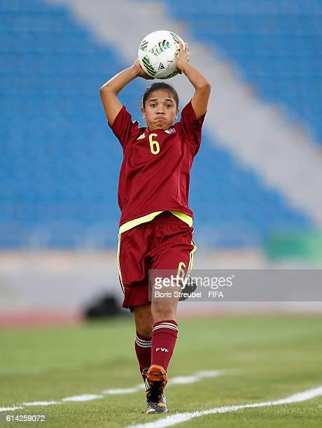 Gladysmar Rojas of Venezuela takes a throwin during the FIFA U17 Women's World Cup Quarter Final match between Mexico and Venezuela at Amman...