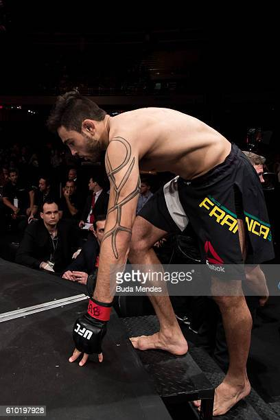 Glaico Franca of Brazil enters the arena prior to his lightweight bout against Gregor Gillespie of the United States during the UFC Fight Night event...
