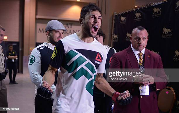 Glaico Franca of Brazil prepares to enter the Octagon during the UFC 197 event inside MGM Grand Garden Arena on April 23 2016 in Las Vegas Nevada