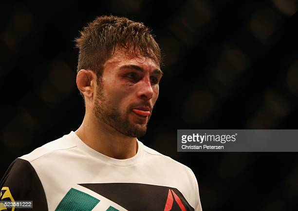 Glaico Franca of Brazil reacts to his loss to James Vick after their lightweight bout during the UFC 197 event inside MGM Grand Garden Arena on April...