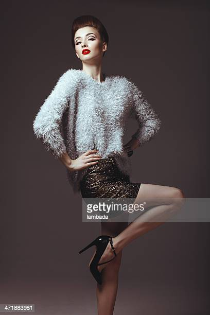 glam diva in sweater - diva human role stock photos and pictures