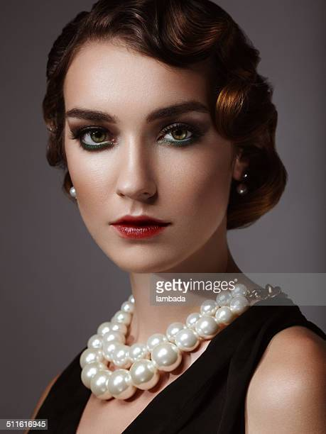 glam retro diva - pearl jewelry stock pictures, royalty-free photos & images