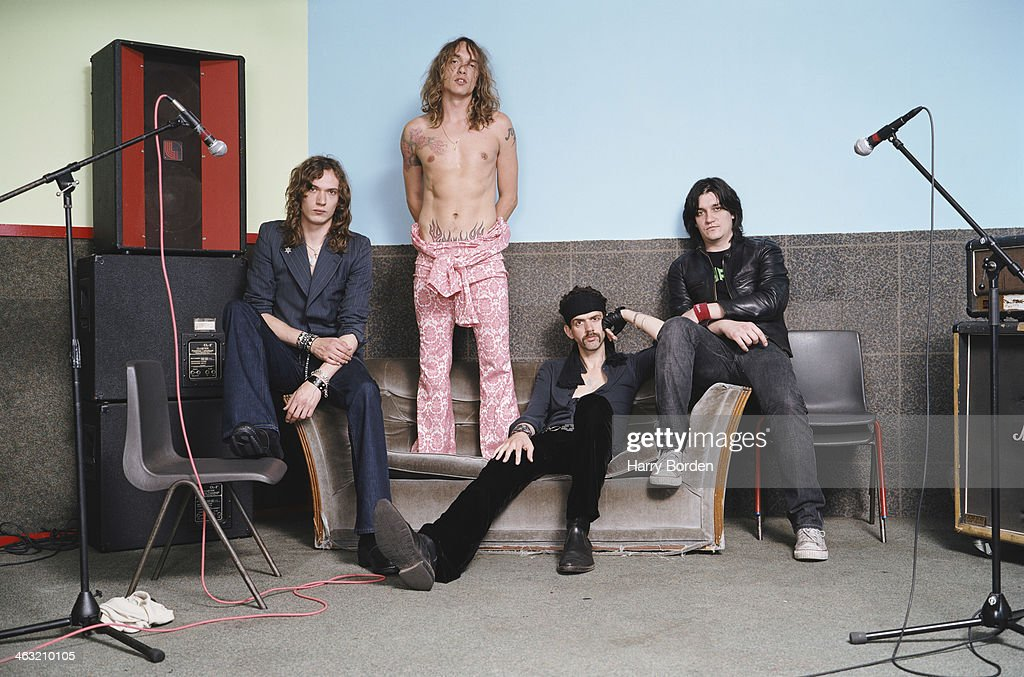 Glam rock band The Darkness are photographed for Trash on May 6, 2003 in London, England.