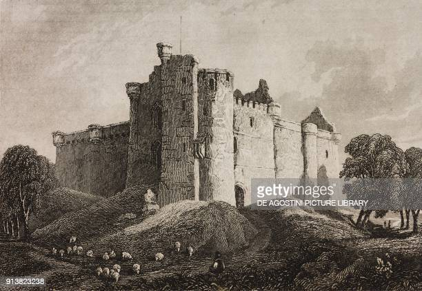 Glamis Castle Scotland United Kingdom engraving by Skelton from Angleterre Ecosse et Irlande Volume IV by Leon Galibert and Clement Pelle L'Univers...